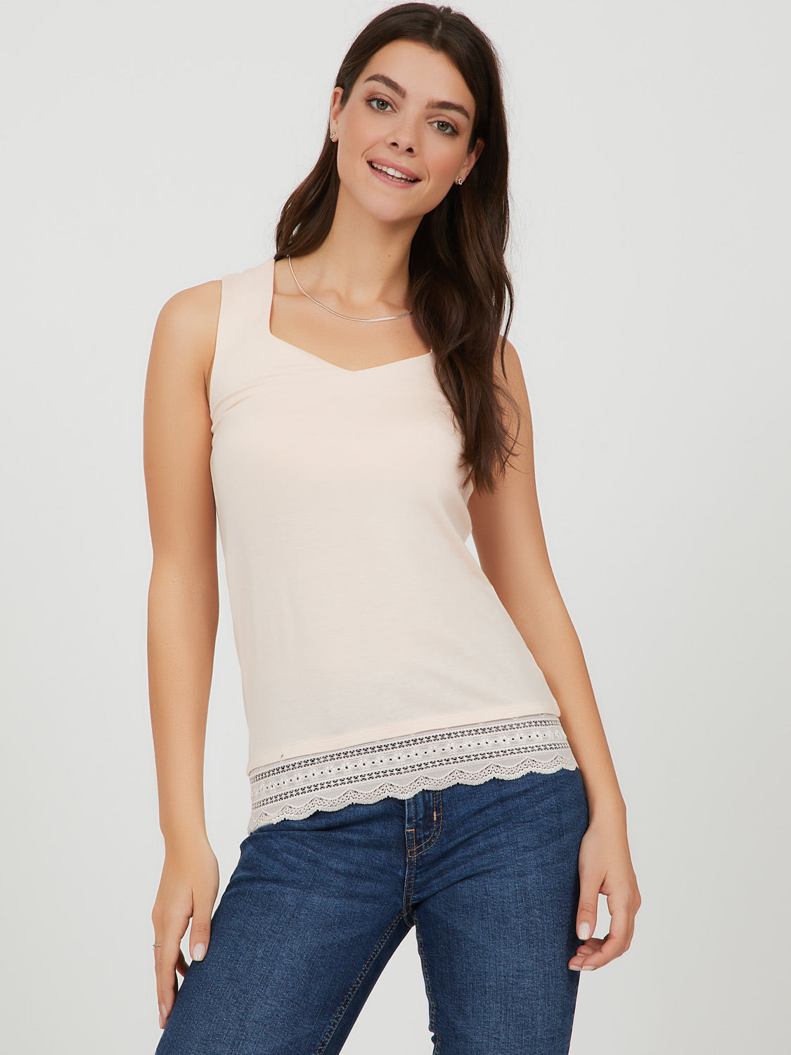 Sweetheart Neck Lace Trim Tank Top
