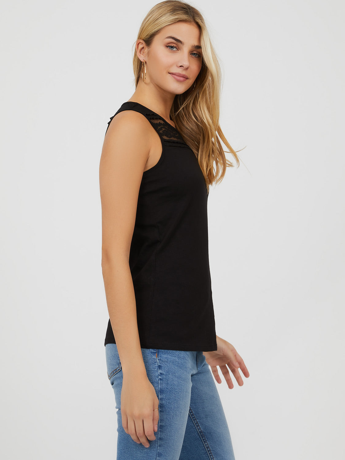 Sleeveless Lace Racer Back Cotton Knit Top