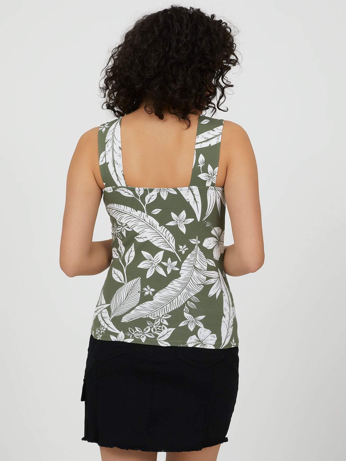 Palm Print Thick Strap Tank Top