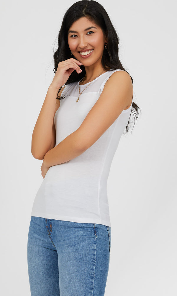Sleeveless Boat Neck Mesh Tank Top