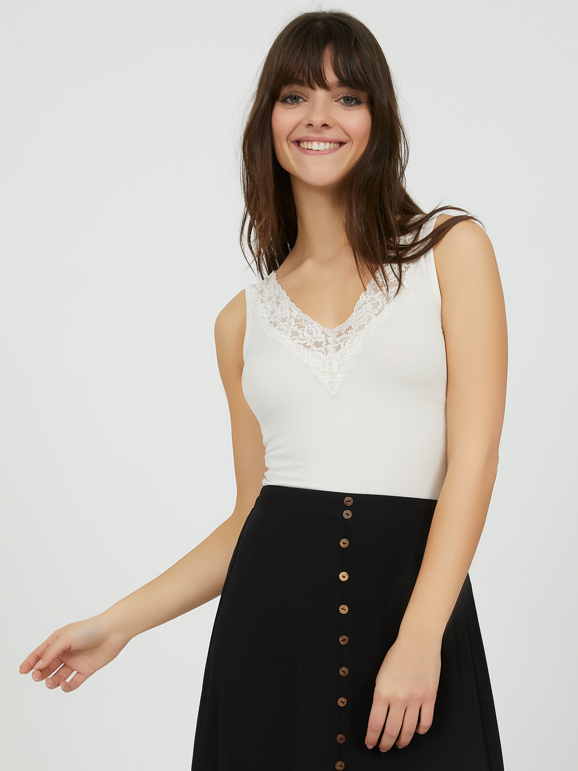 Rib Knit Lace Trim Tank Top