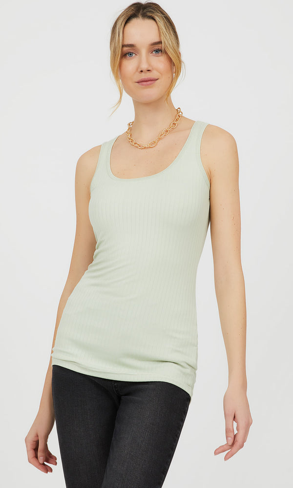 Scoop Neck Rib Knit Tunic Tank Top
