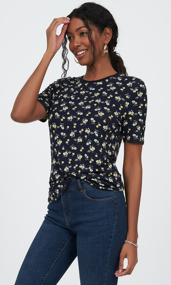 Short Sleeve Scoop Neck Printed Top