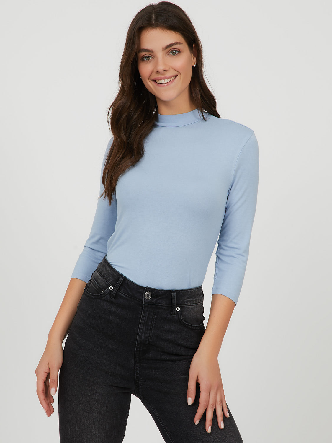 ¾ Sleeve Mock Neck Top