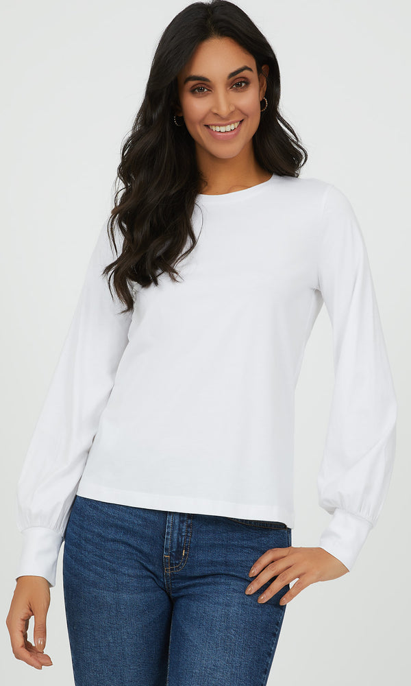 Puff Sleeve Jersey Knit Top