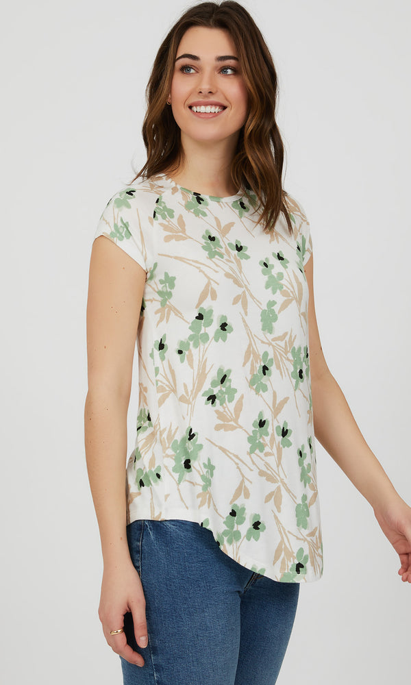 Short Sleeve Printed Knit Top