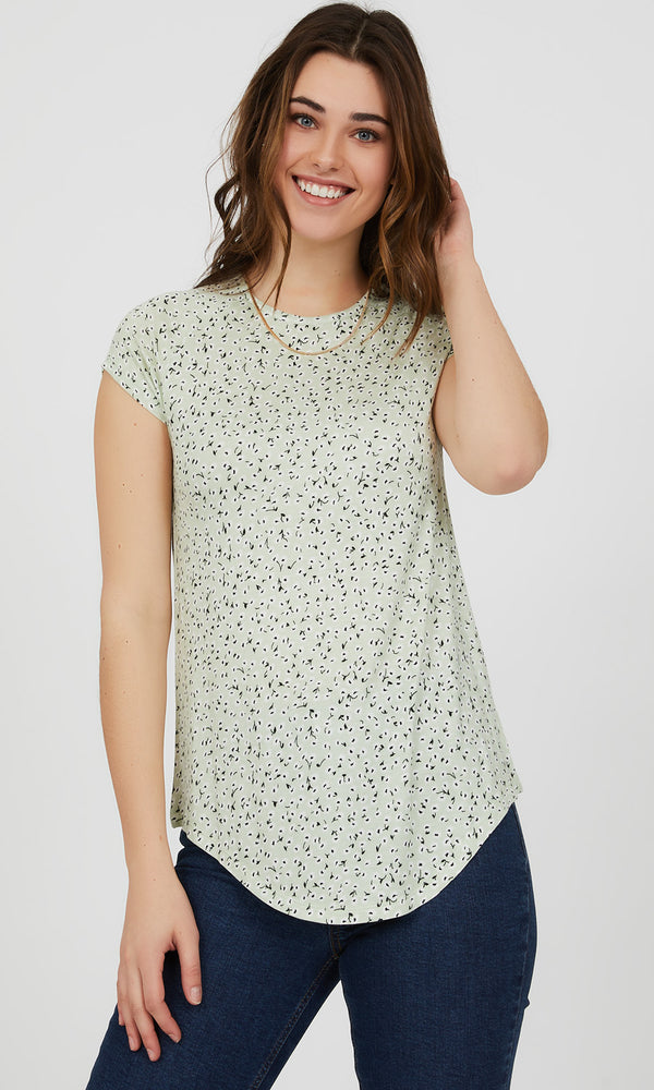 Short Sleeve Floral Knit Top