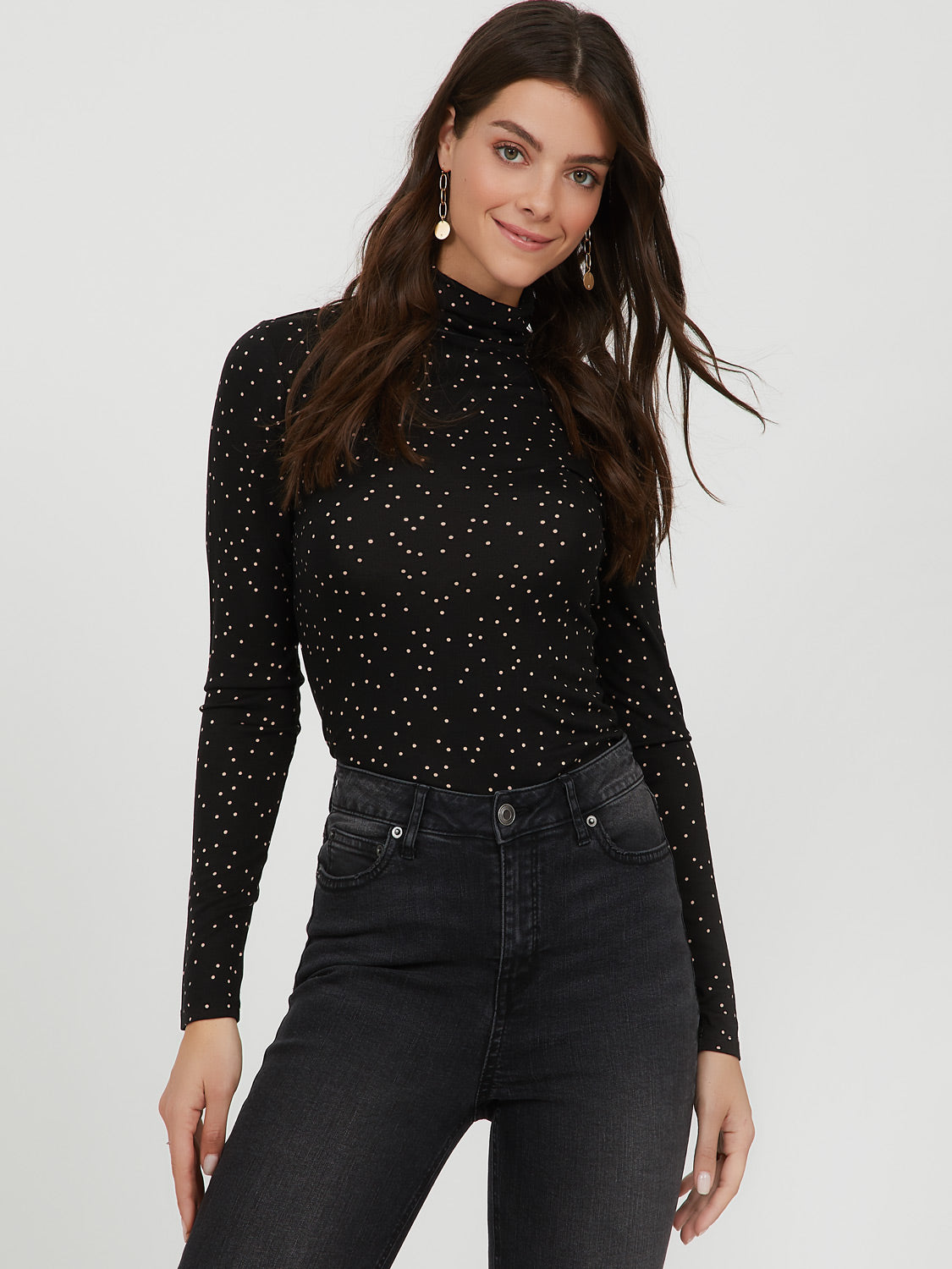 Scattered Dots Knit Turtleneck Top