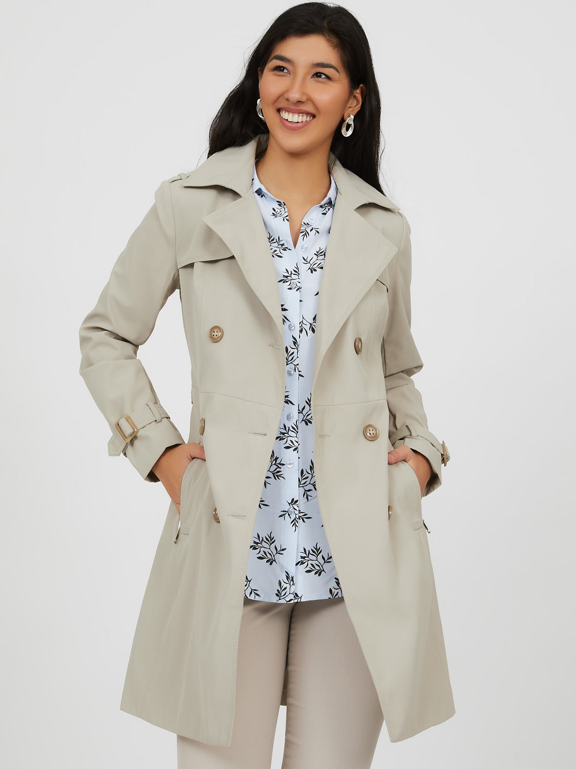 Double-Breast Belted Trench Coat