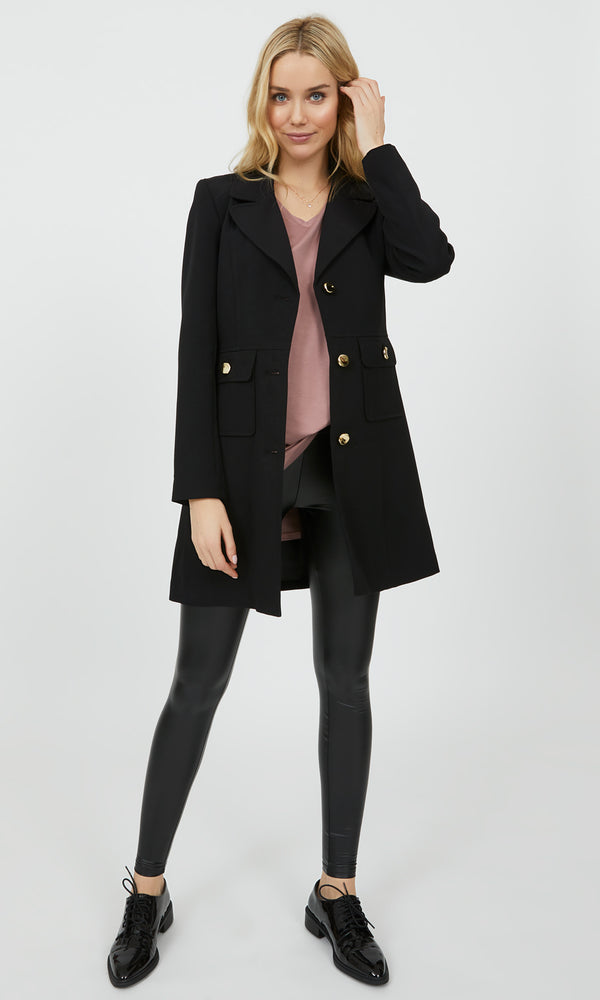 Crepe Coat with Patch Pockets