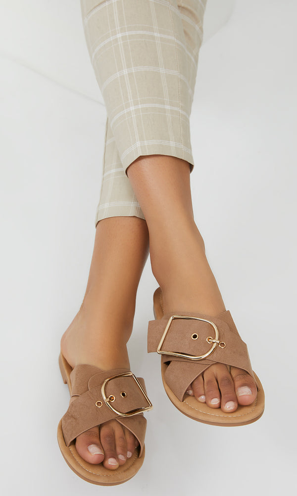 Faux Suede Cross Over Sandals