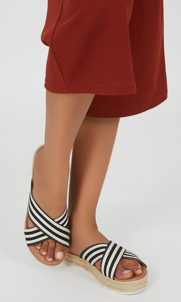 Striped Crisscross Wedge Sandals