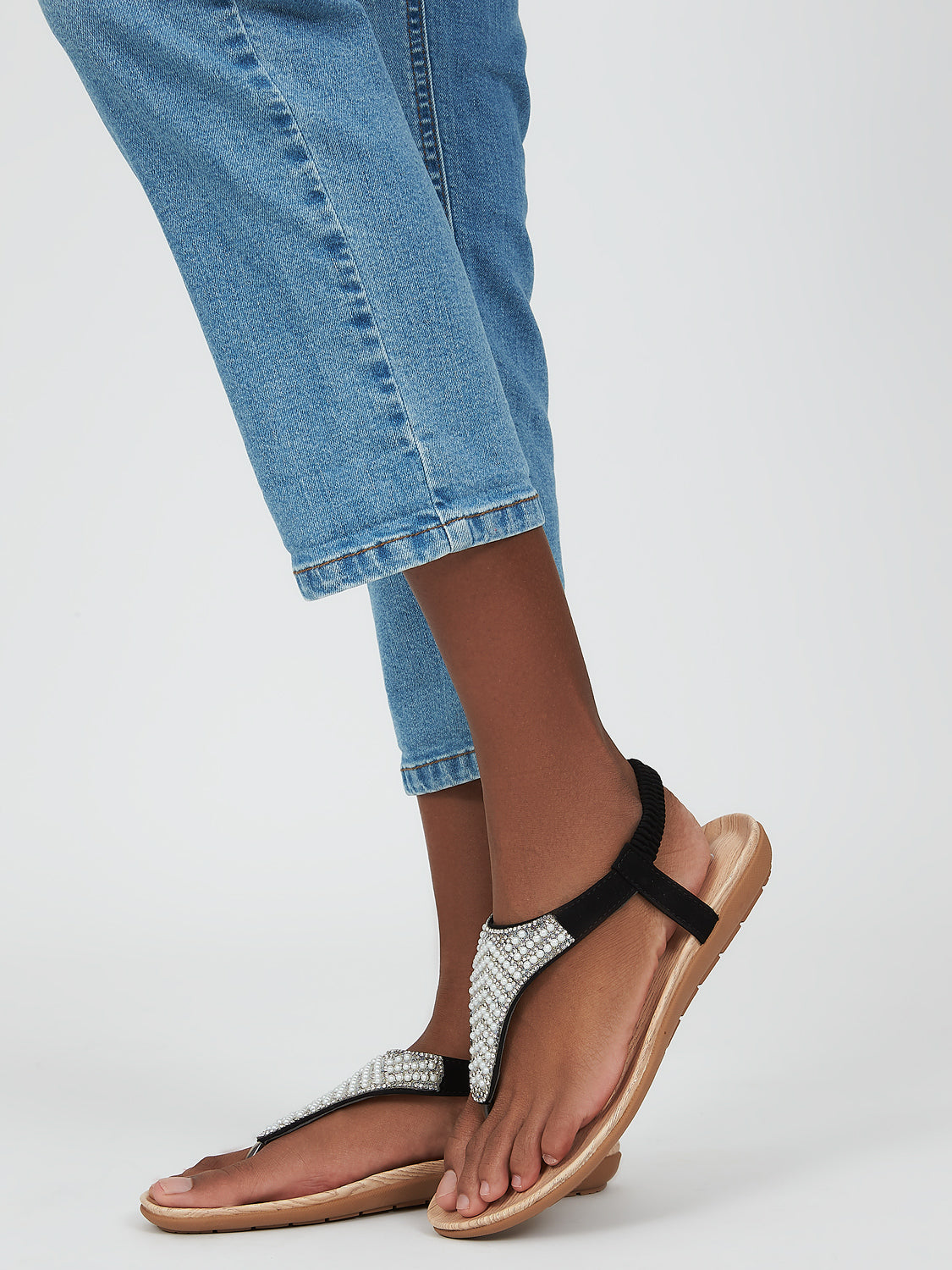 Studded T-Bar Wooden Sole Sandals