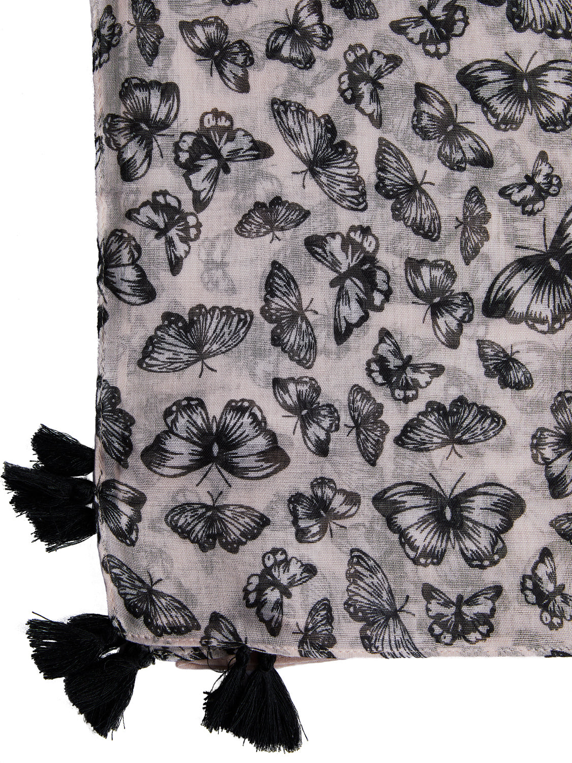 Light Butterfly Scarf with Tassels
