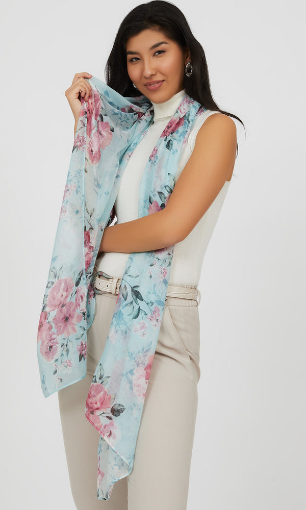 Raw Edge Big Florals Scarf