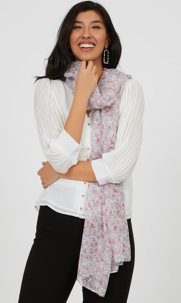 Raw Edge Small Florals Scarf