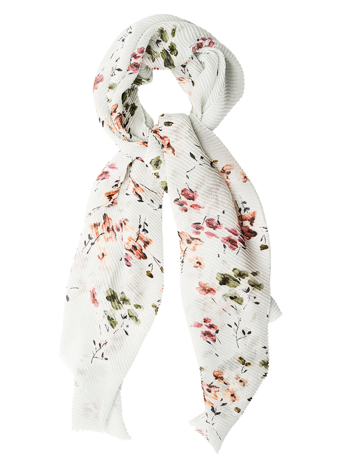 Pleated Raw Edge Floral Scarf