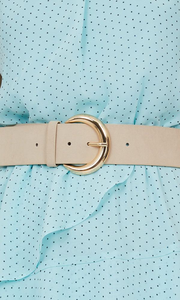 Elastic Back Faux Leather C-Buckle Belt