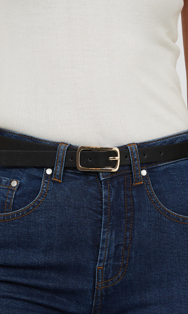 Rectangular & Oblong Buckle Faux Leather Belt (Pack of 2)