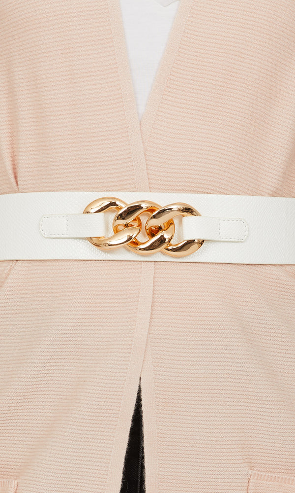 Rose Gold Chain Buckle Faux Leather Belt