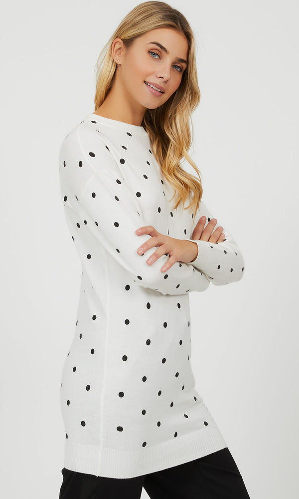 Polka Dot Crew Neck Sweater
