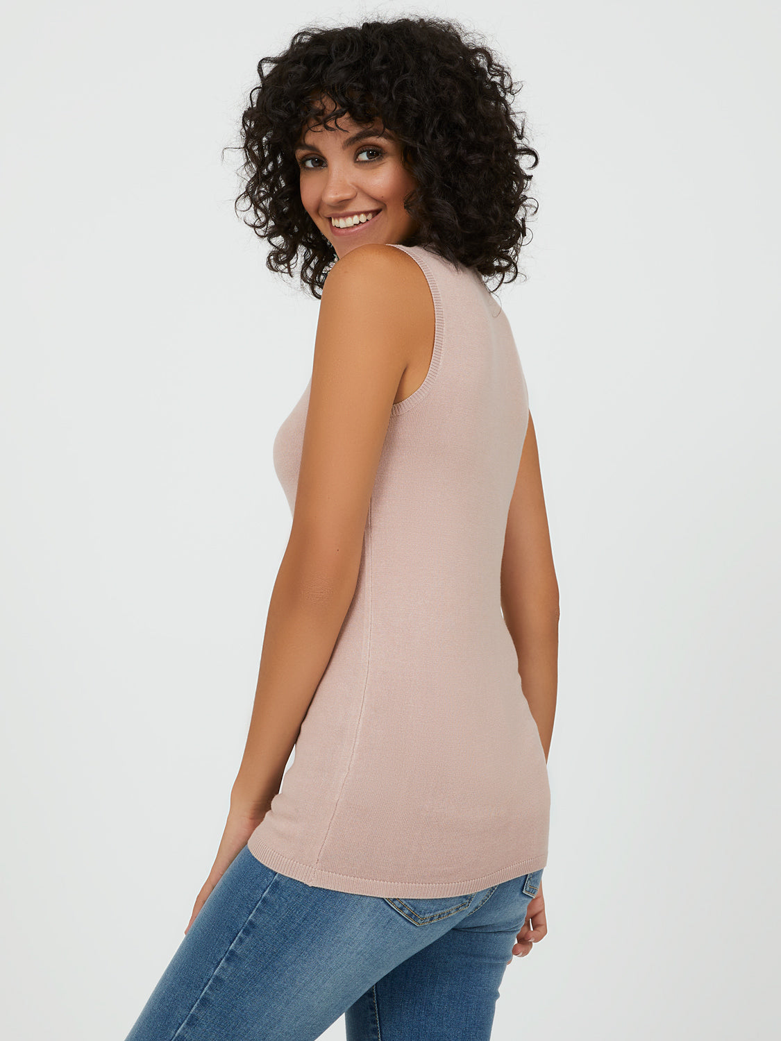 Sleeveless Mock Neck Sweater
