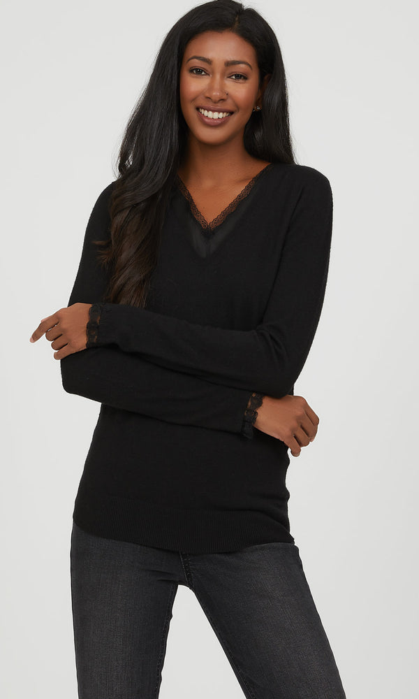 Lace Neck Trim Sweater