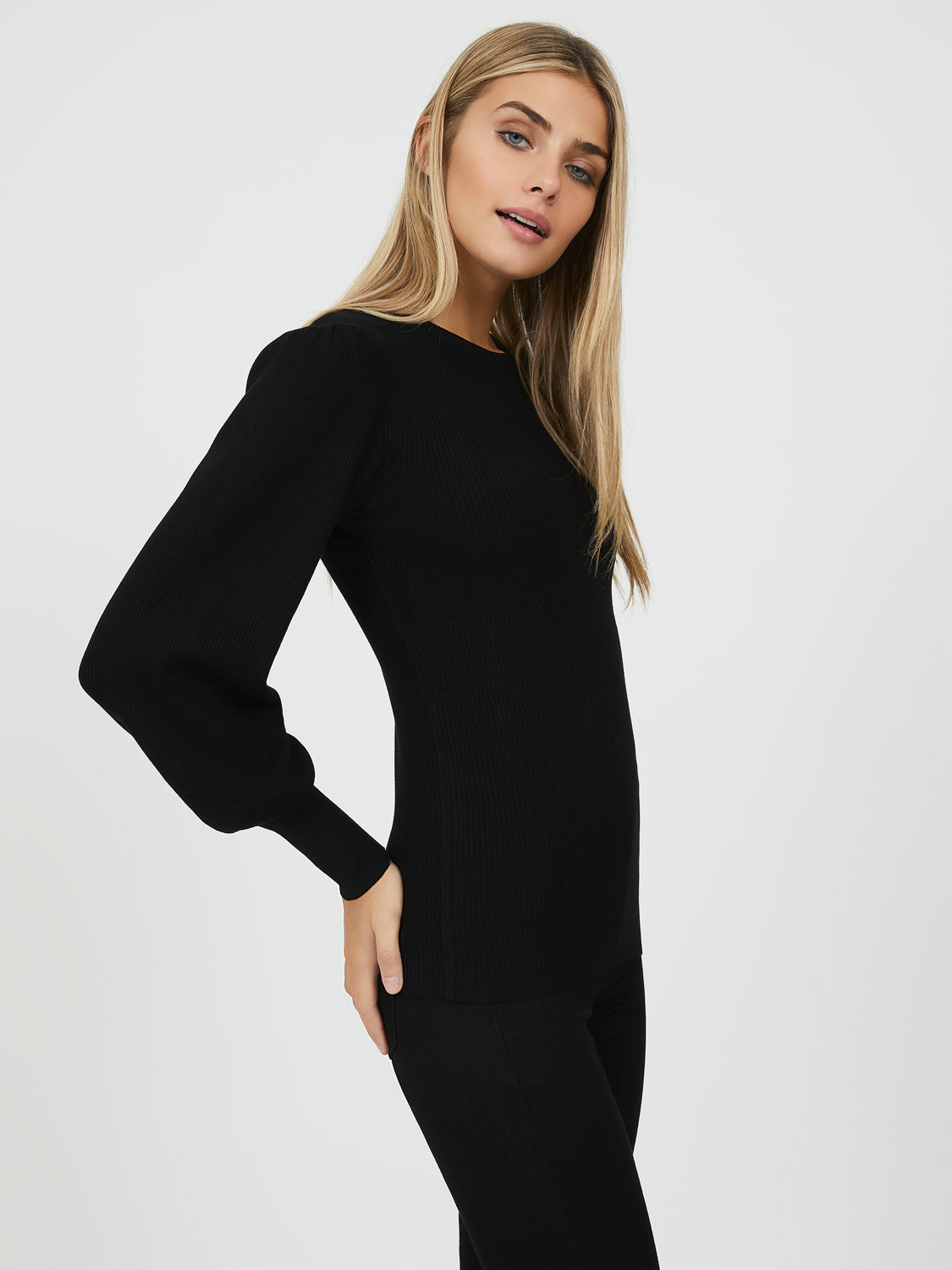 Pucker Sleeve Crew Neck Sweater