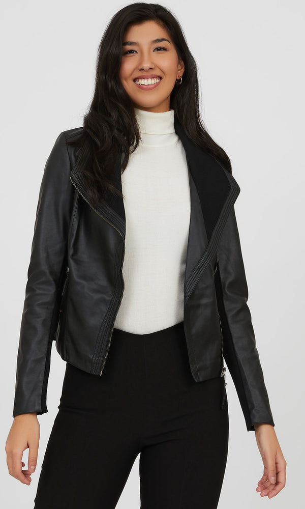 Faux Leather Rib Knit Biker Jacket