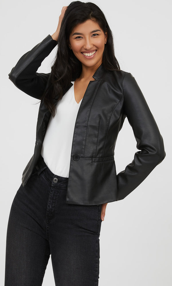 Faux Leather Collarless Blazer