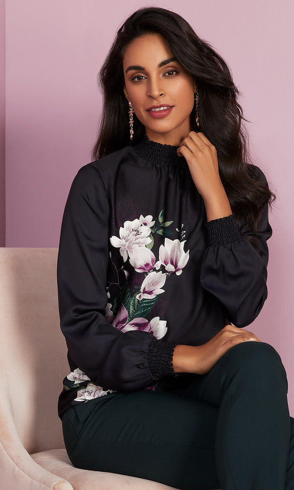 Moody Floral Satin Blouse