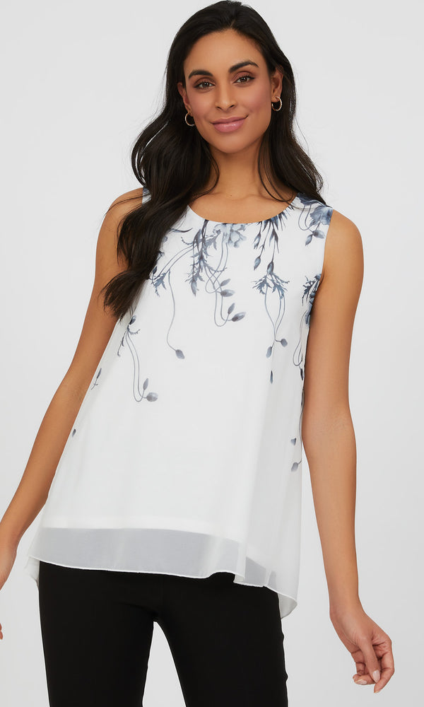 Sleeveless Monochrome Floral Chiffon Blouse