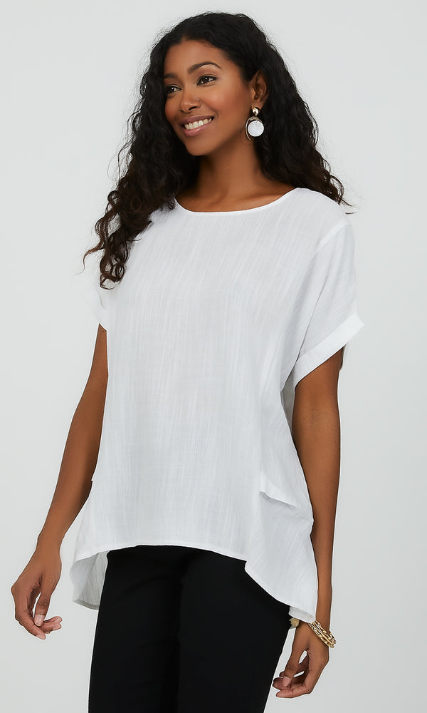 Cap Sleeve Linen-Like Blouse