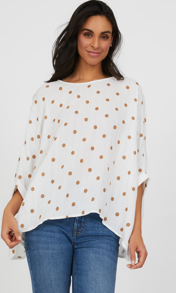 Sharkbite Hem Polka Dot Blouse
