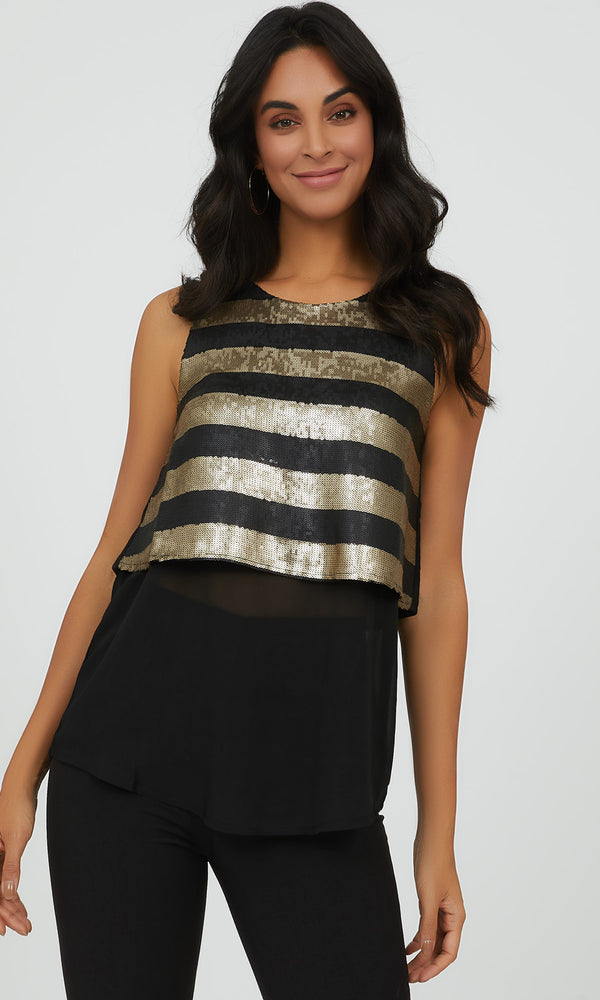 Sleeveless  Glitter & Mesh Party Blouse