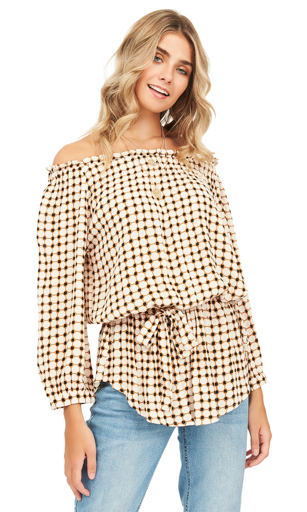 Printed Off-The-Shoulder Tunic Blouse