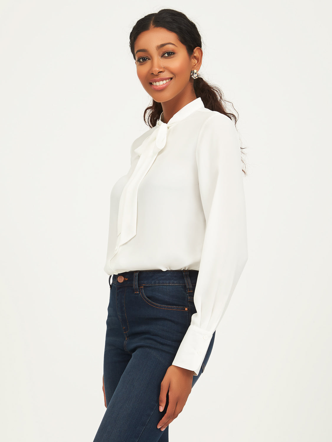 Long Sleeve Button-Down Front With Neck Tie