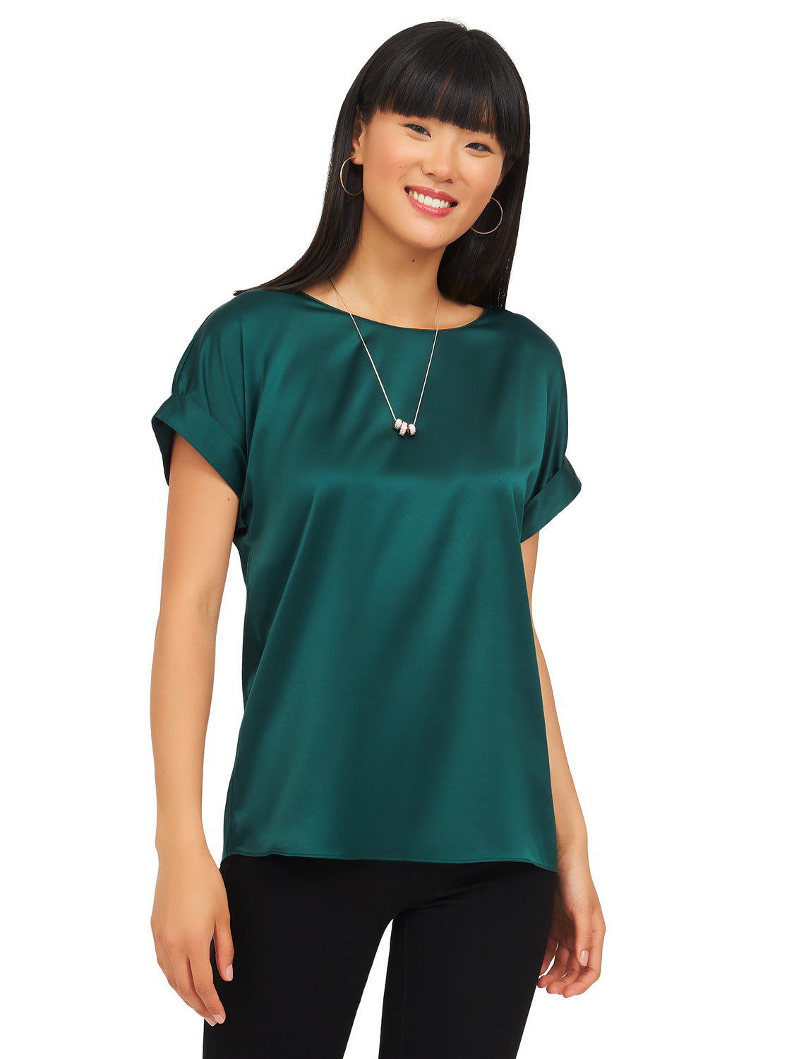 Cap Sleeve Satin Tee