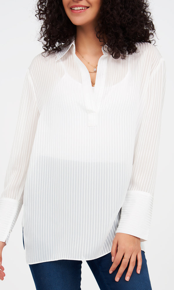 Dobby V-Neck Collar Blouse