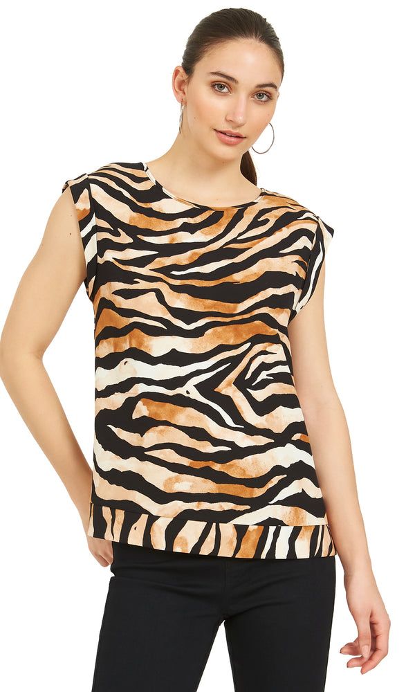 Short Sleeve Animal Print Crepe Top