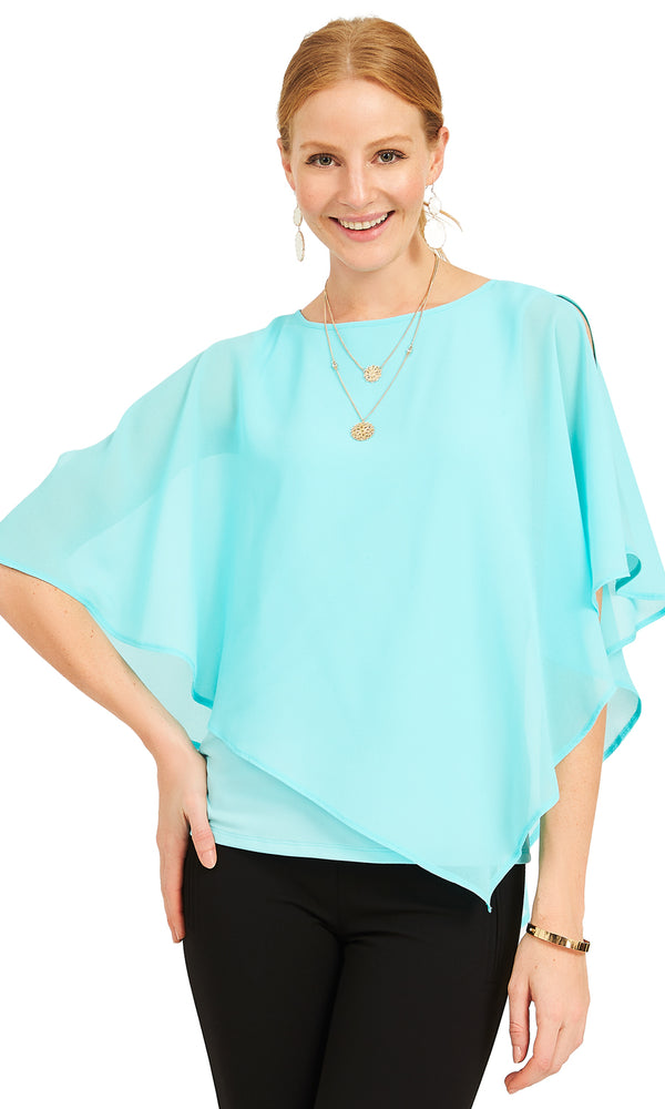 Asymmetrical Chiffon Blouse With Slit Cape Sleeves