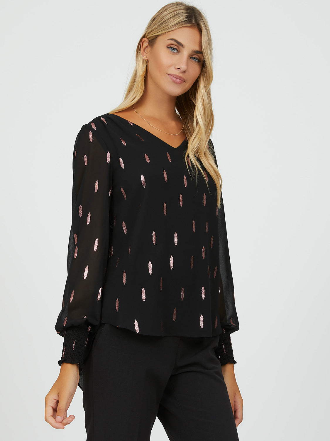 Sheer Sleeve Printed Top
