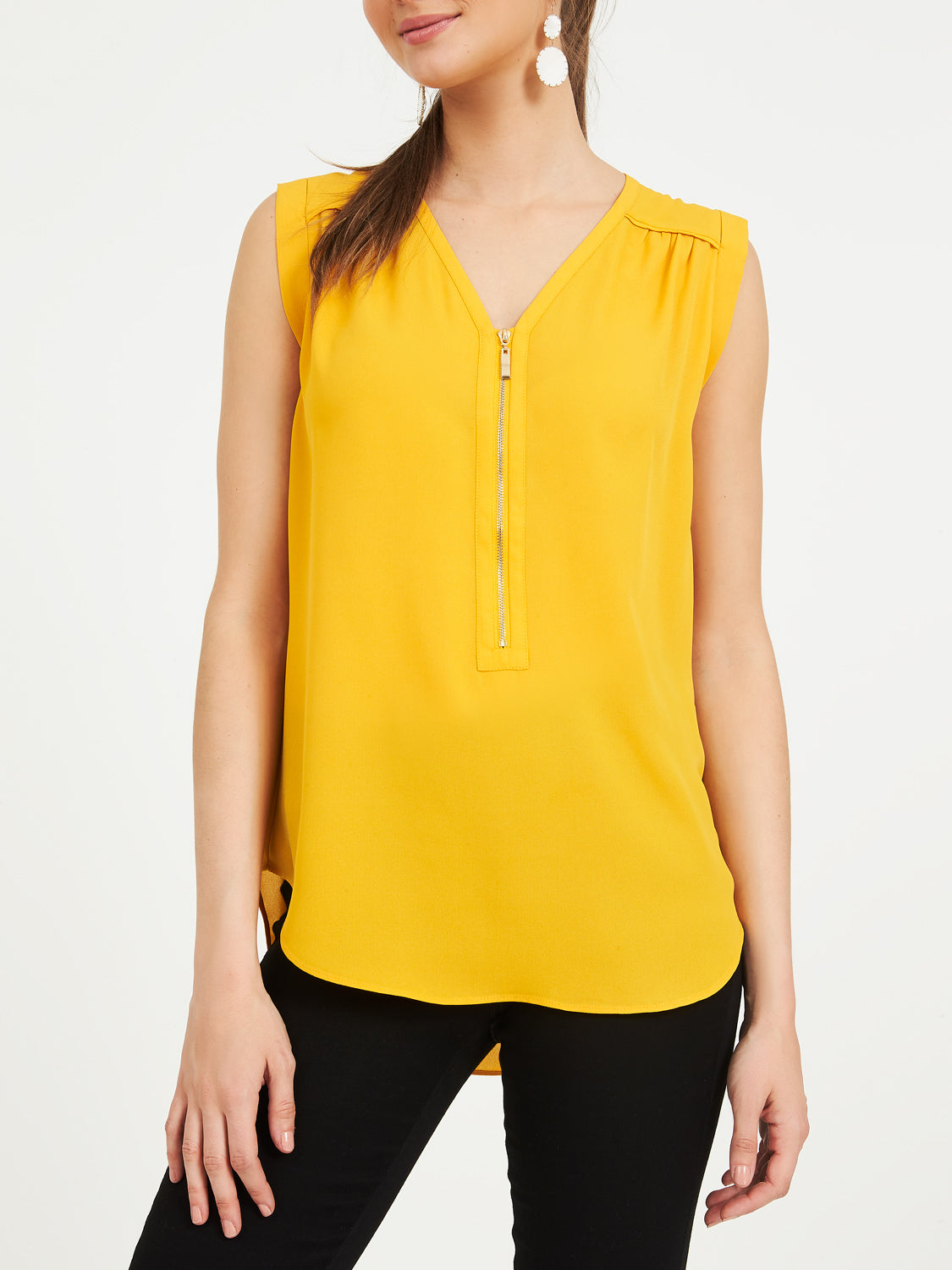 Sleeveless Blouse With Front Zipper