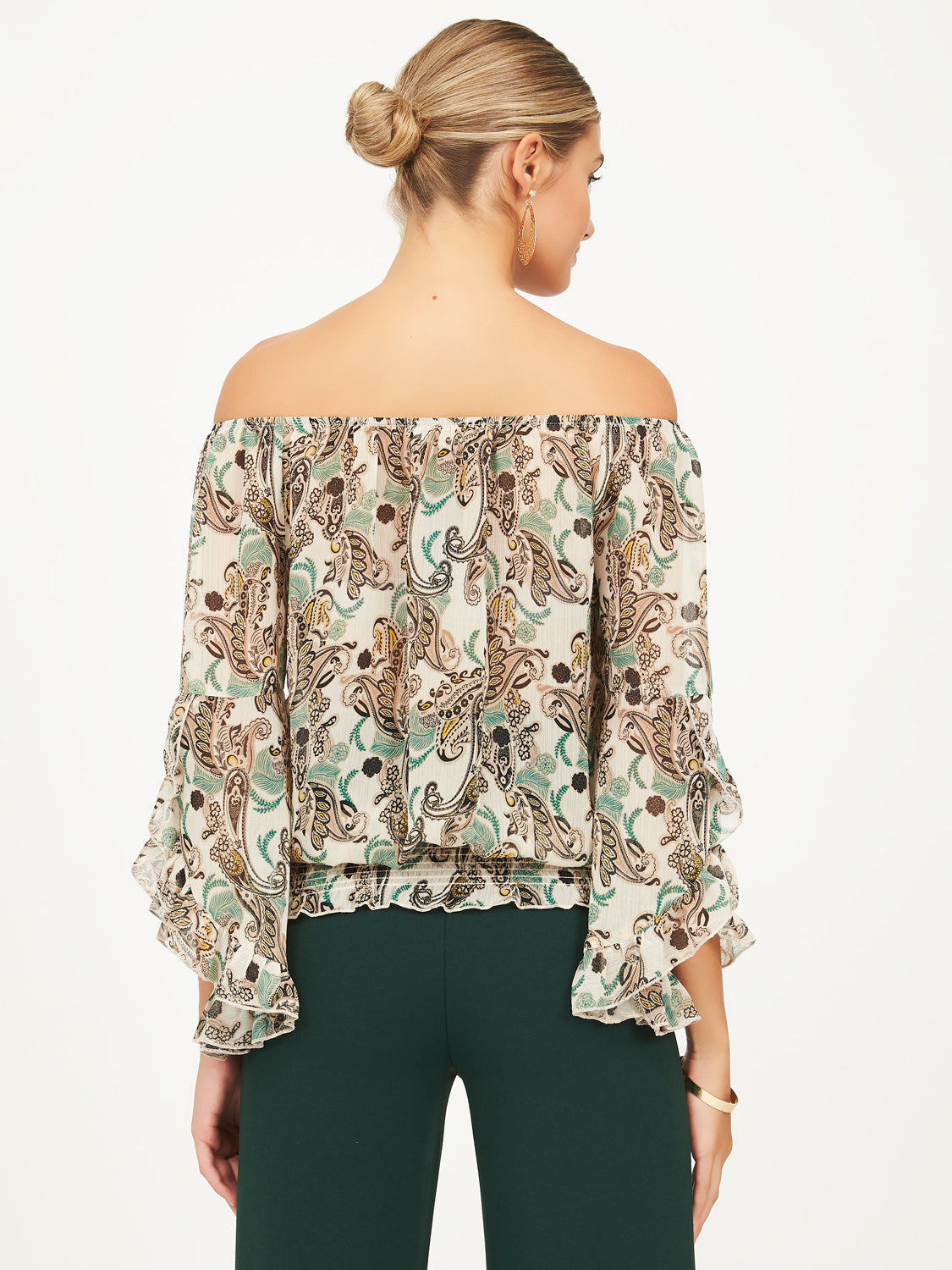 Raglan Sleeve Peasant Top With Ruffles