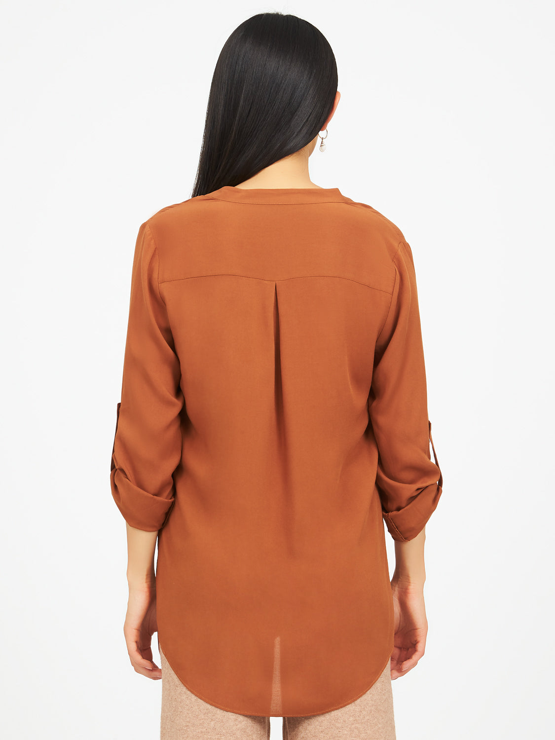 Roll-Up Sleeves Neuro Collar Blouse