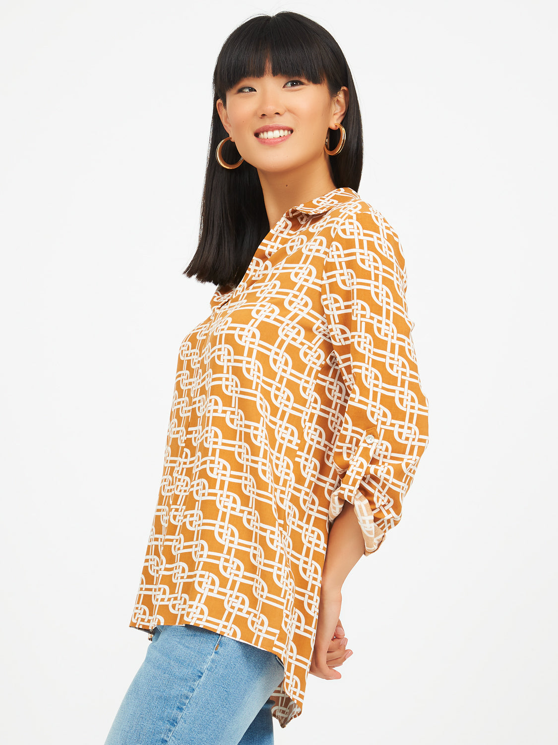Printed Shirt With Popover Collar