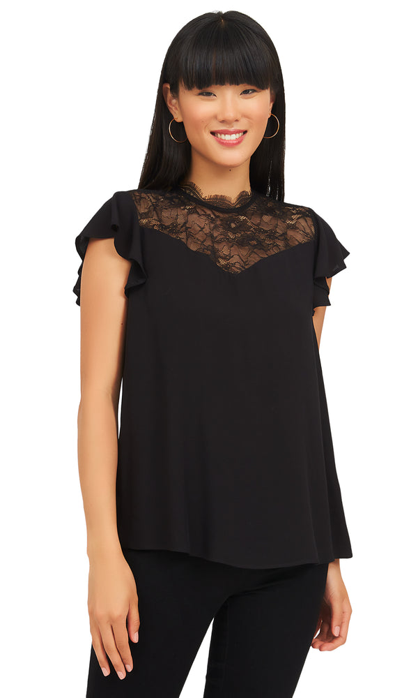 Short Sleeve Lace Mesh Blouse