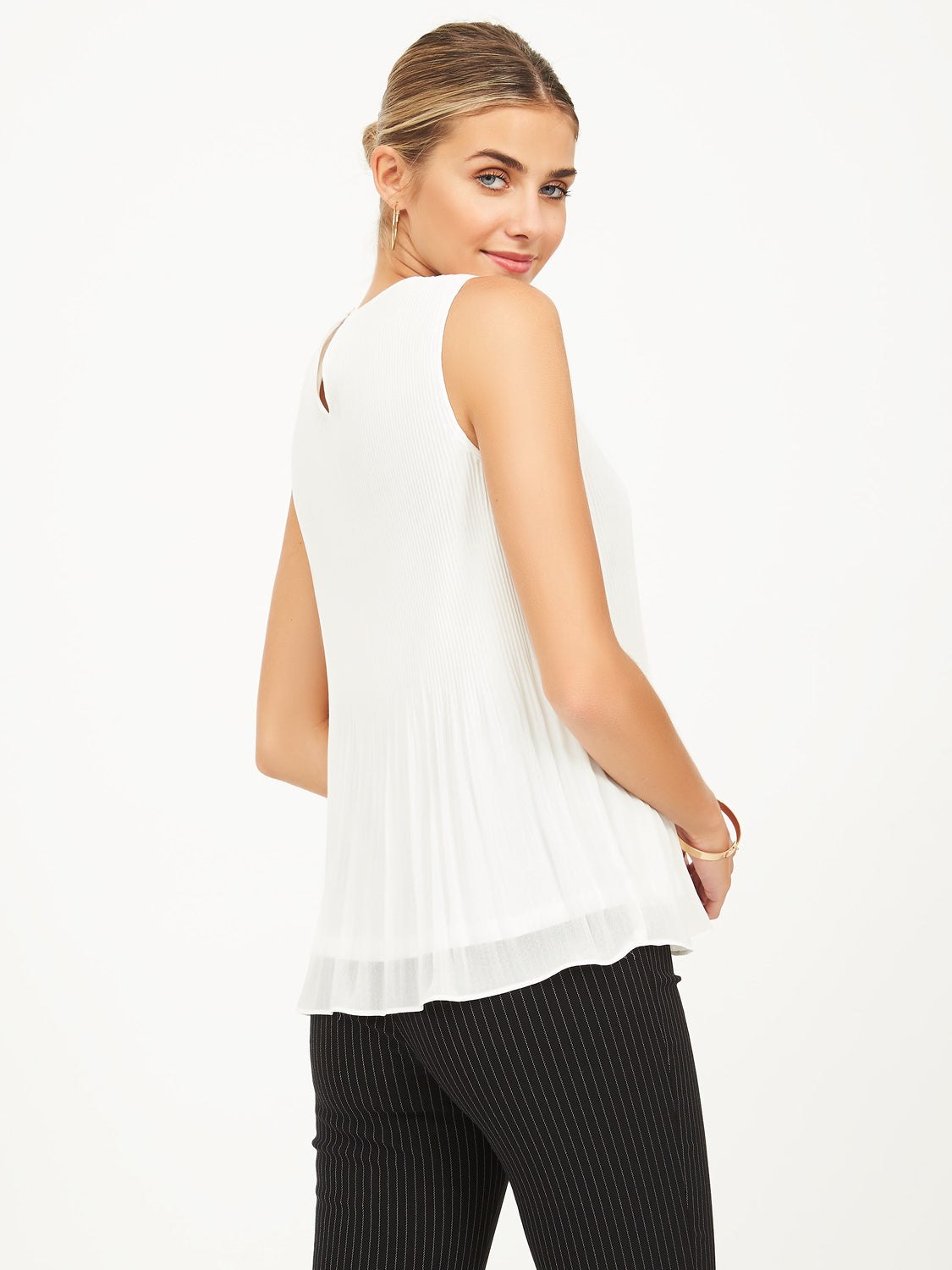 Pleated Chiffon Blouse with Round Neck
