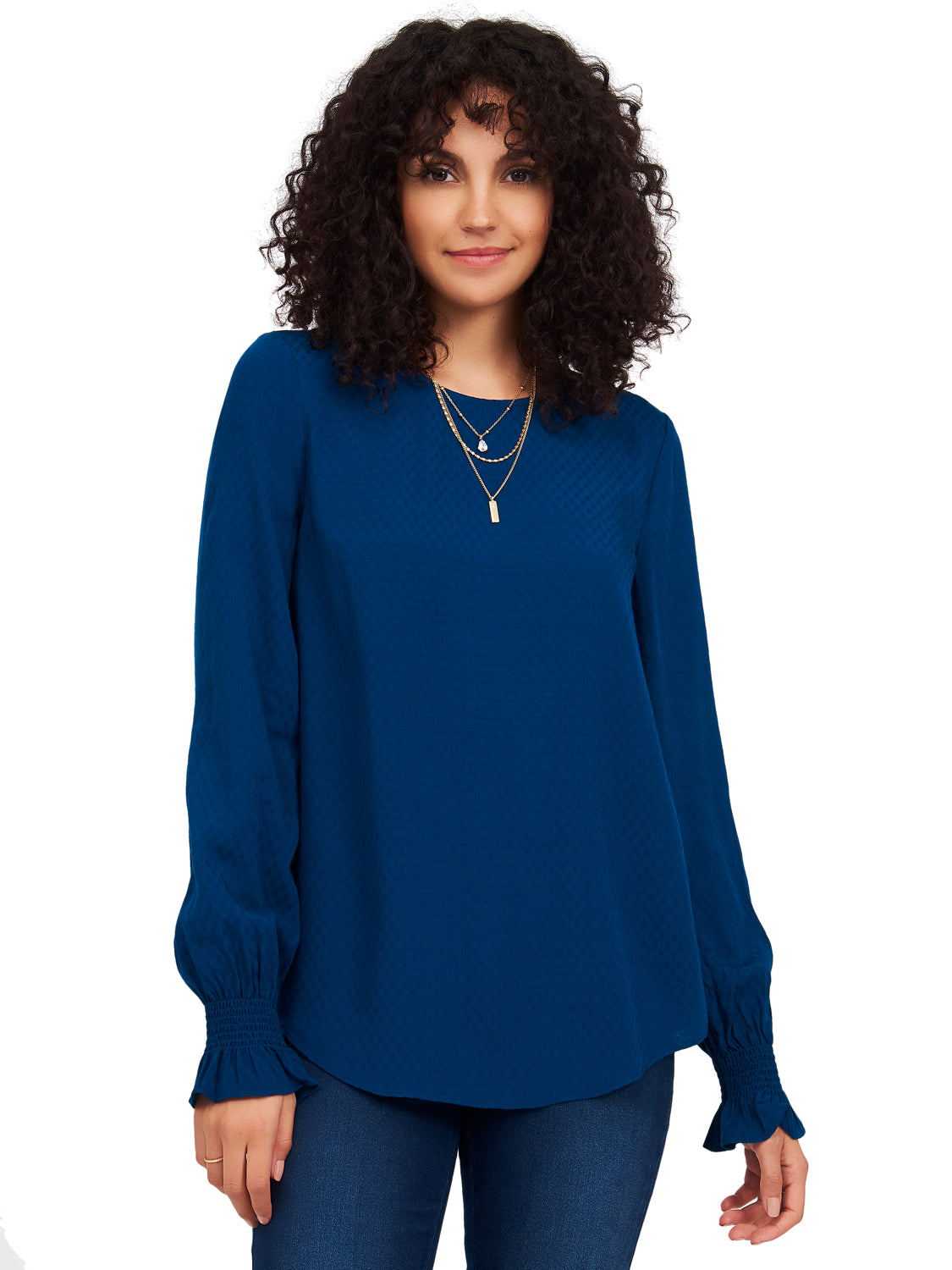 Textured Flared Sleeve Blouse