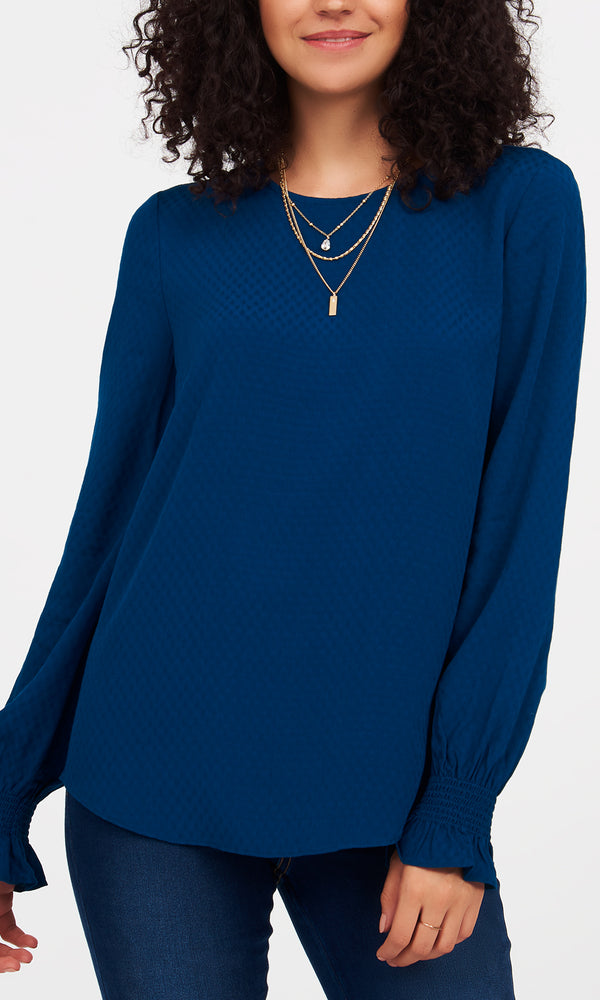 Textured Flare Sleeves Blouse